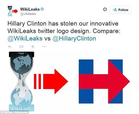 WikiLeaks cho rằng bà Clinton đã ăn cắp ý tưởng thiết kế logo của mình. (Nguồn: WikiLeaks)